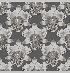 Seamless floral pattern orchids flower with vector