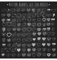 set hearts chalkboard blackboard vector image