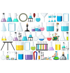 set lab equipment vector image