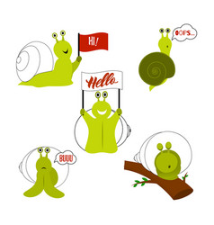 set of cute snails isolated vector image