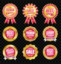 set of excellent quality crimson badges vector image