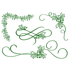 Set of green christmas calligraphy flourish art vector