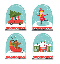 set of isolated decorative snow globes vector image