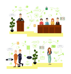 Set of law court people symbols icons in vector