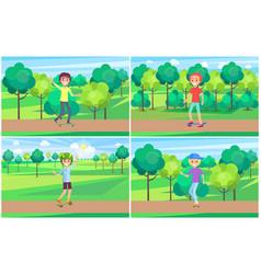 Set of skateboarder training in green summer park vector