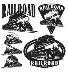 set of templates with a locomotive vintage train vector image