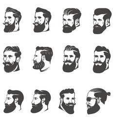 Set of the bearded man head isolated on white vector