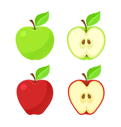 Set red and green apples and their pieces vector