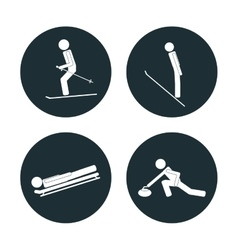 Set winter sport categories vector