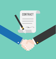 shake hand and contract with pen successful deal vector image