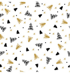 simple christmas tree hand drawn pattern vector image
