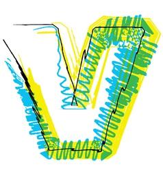 Sketch font letter v vector