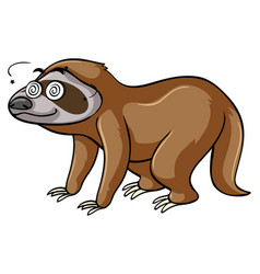 Sloth with dizzy eyes vector