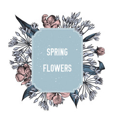 spring flowers badge over wild spring flowers vector image