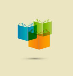 Stack three books white isolated vector