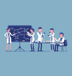 students in the lab vector image