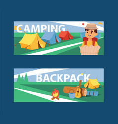 summer camp banner camping vector image