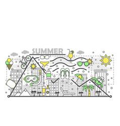 Summer flat line art vector