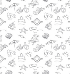 Summer icons seamless line pattern Doodle style vector image