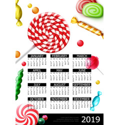 sweet candies 2019 year calendar poster vector image