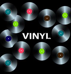 ten vinyl records on a black background vector image