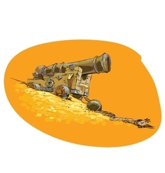 The cannon on the pirate ship vector