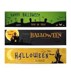 three halloween landscape banners green dark vector image