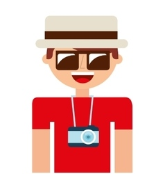 Tourist man camera icon vector