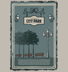 Vintage colored city park poster vector