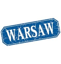 Warsaw blue square grunge retro style sign vector