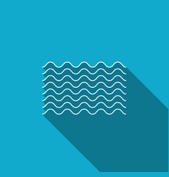 waves icon isolated with long shadow vector image