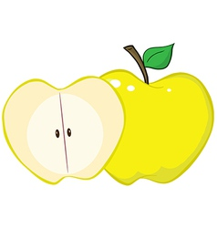 Whole And Cut Yellow Apple vector image