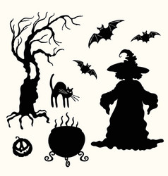 witch pumpkin lantern tree cat cauldron and vector image