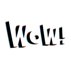 Wow lettering with retro stereo effect vector image