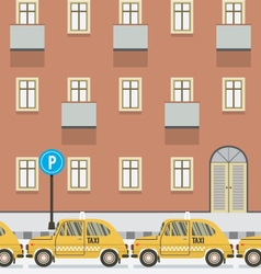 Yellow Taxi Parked Beside Pedestrian vector image