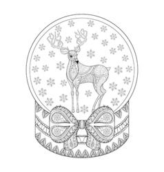 zentangle Christmas snow globe with reindeer vector image