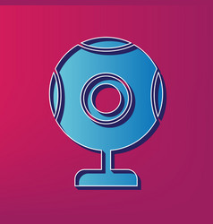 chat web camera sign blue 3d printed icon vector image