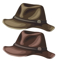 Mens classic hat on white background vector image vector image