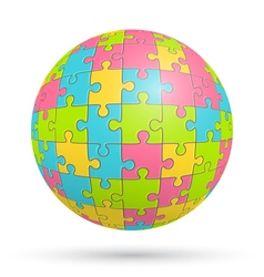 Puzzle Jigsaw Sphere Isolated on White vector image vector image