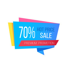 sale with hot prices and 70 off promo sticker vector image vector image