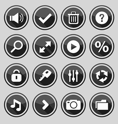 web design round black buttons set 2 vector image vector image