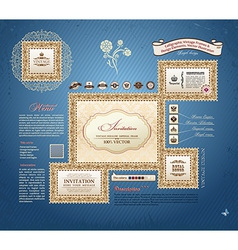 calligraphic vintage frames and design elements vector image