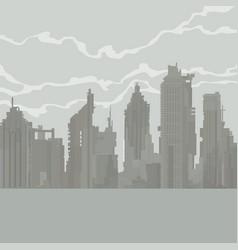 Cartoon gray city of dilapidated skyscrapers vector