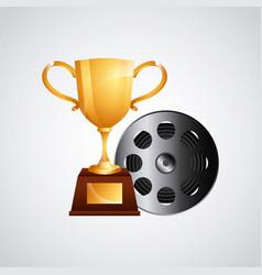 golden trophy icon vector image
