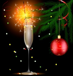 champagne and christmas sparkler vector image vector image