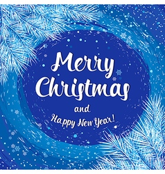 Christmas card poster banner with white fir vector