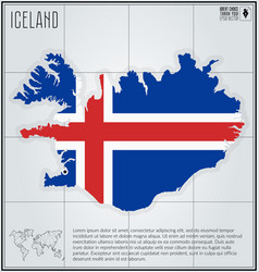 iceland map with flag inside vector image