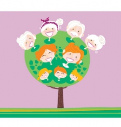 triple generation family tree vector image