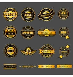 Badges tag label sticker gold set For business vector image vector image