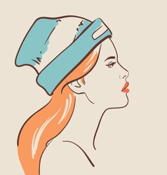 beautiful fashion woman in hat vector image vector image